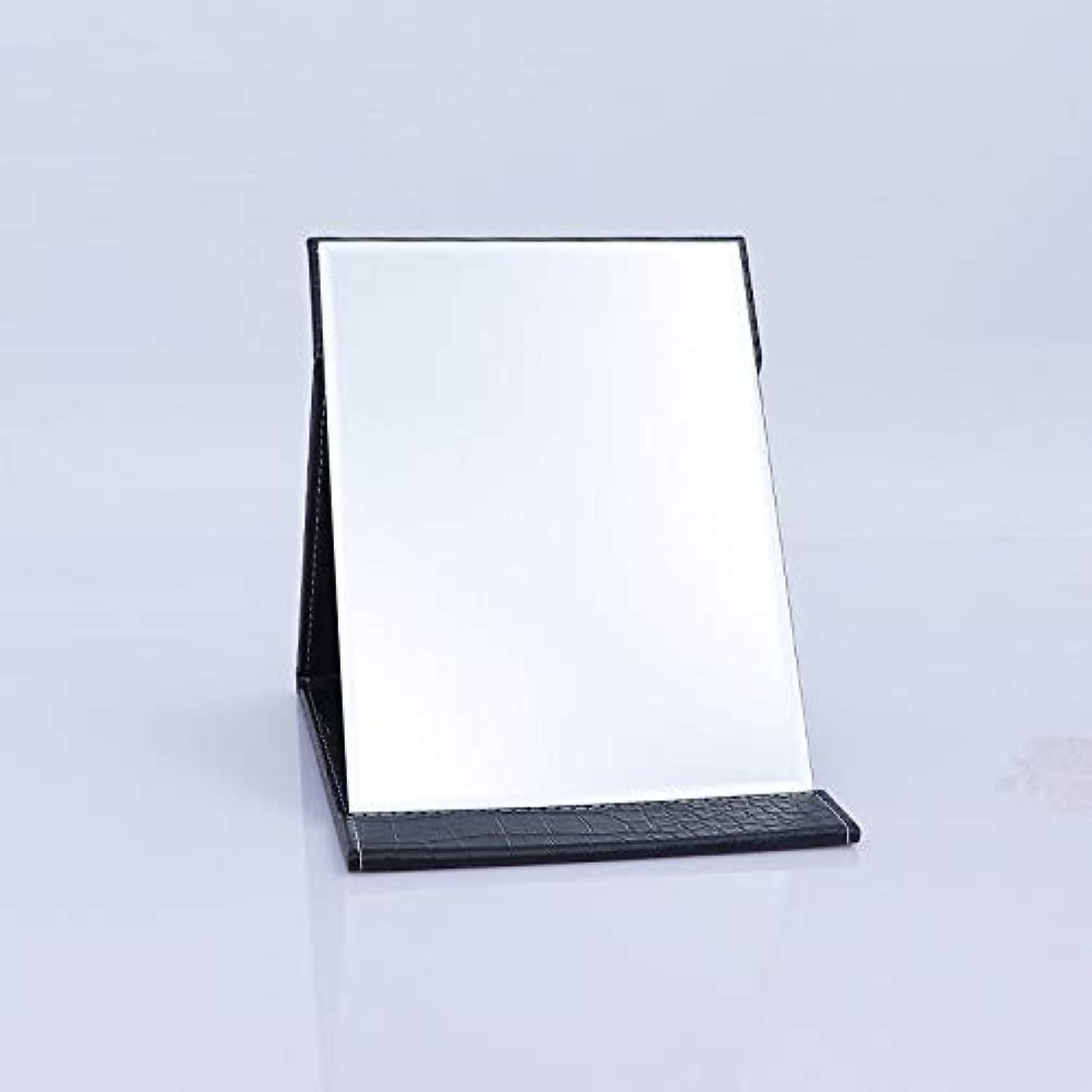 Takelablaze 化粧鏡 折立ミラー 卓上スタンドミラー 折りたたみミラー PUレザー ブラック