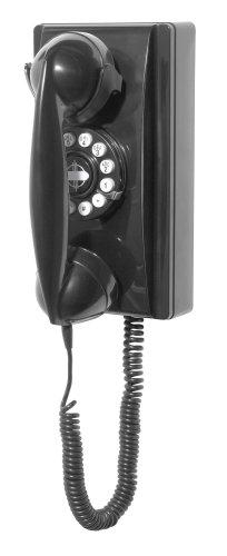 Crosley CR55-BC Teléfono de Pared con tecnología de botón, Retro, Negro, Una Tall