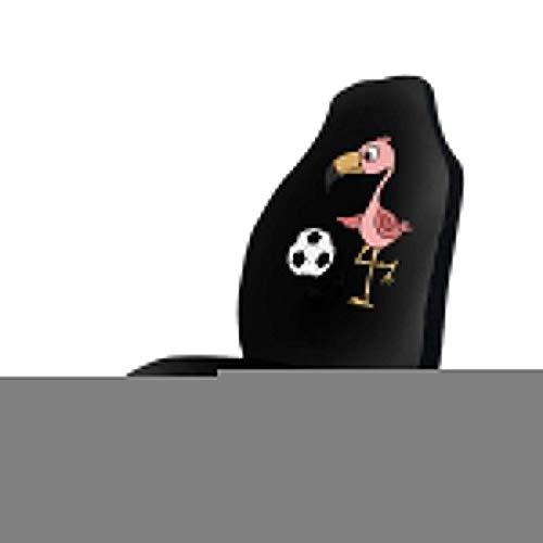 GOSMAO Fundas para asientos para fanáticos de los deportes Flamingo Playing Soccer Art Fundas para asientos delanteros de automóvil para mujeres, que se adaptan a la mayoría de vehículos, automóviles