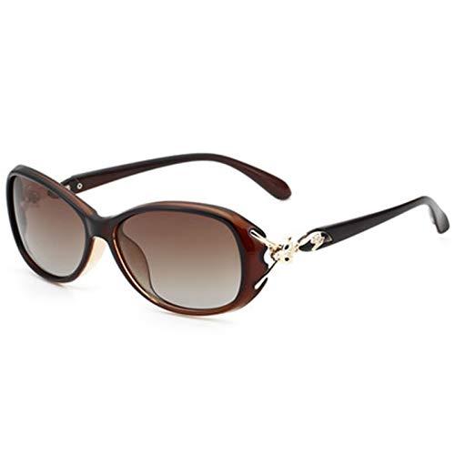 wgg De Venta Libre Gafas de Sol para Damas Bloqueo de Alta definición de Rayos Ultravioleta para prevenir el polarizador de conducción Deslumbrante Vasos Ligeros (Color : Brown)