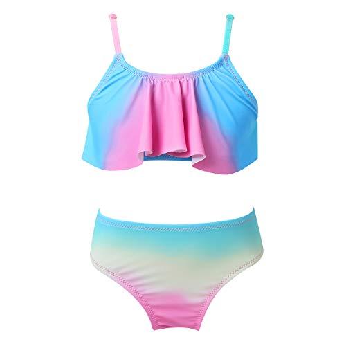 iiniim Traje de Baño para Niña Bañador Bikini con Volantes Ropa de Baño Playa Natacion Dos Piezas 6-14 Años Rosa 8 años