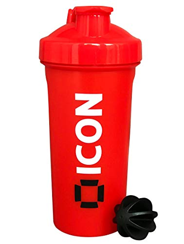 ICON Nutrition Classic Protein Shaker Bottle, 600ml Protein Shaker - Full Red
