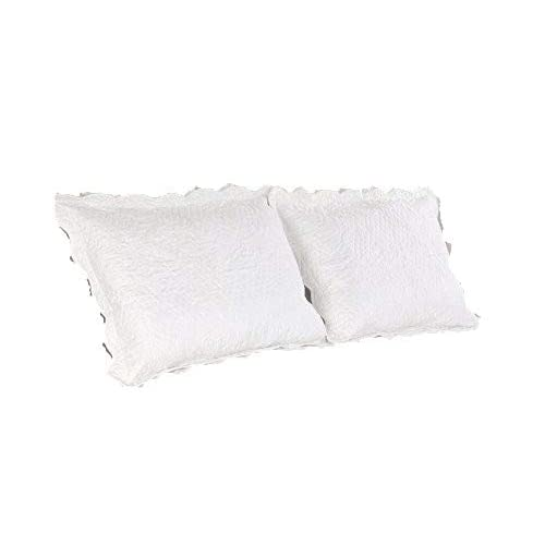 5c32c5aa713b5 ALL FOR YOU 2-Piece Embroidered Quilted Pillow Shams-Standard Size (White)