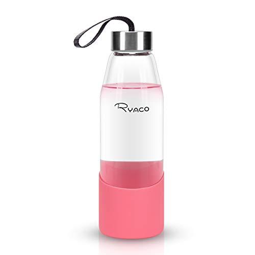 Ryaco Botella de Agua Cristal 500ml, Botella de Agua Reutilizable 16 oz, sin BPA Antideslizante Protección Silicona Llevar Manga y Cepillo de Esponja (Rosa, 500 ml)