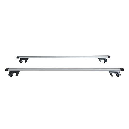 HOMCOM Juego de Barras para Techo Aluminio Universal Baca Portaequipajes Coche con Cierre 120cm