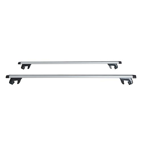HOMCOM Barras de Coche Universal con Llave Tipo Baca Portaequipajes de Aluminio para Techo 120cm