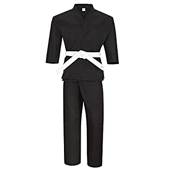 MACS Martial Arts Karate Uniform for Kids & Adult Lightweight Student Gi with Free Belt  Black 00