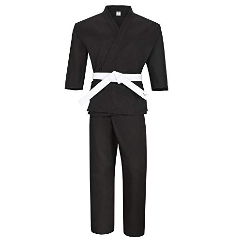 MACS Martial Arts Karate Uniform for Kids & Adult Lightweight Student Gi with Free Belt (Black, 1)