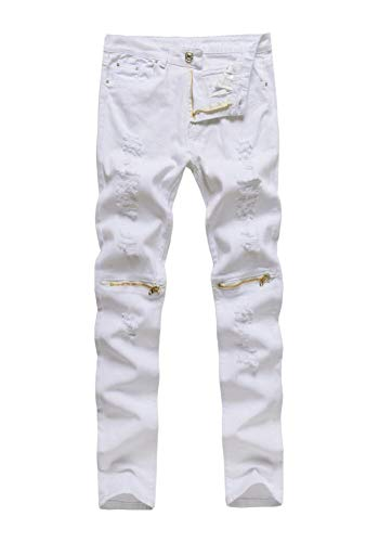 Emmay Herren Superenge Jeans Enge Der Wesentlich Jeans Verschluss Am Knie Hose Neu Clubwear Streetwear Jeanshose Trousers (Color : Weiß, Size : 36)