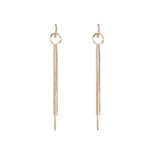 LUOEM Pendientes de Gota Largos de Moda Pendientes de Cadena de Borla de Cristal para niñas Mujeres (Dorado)