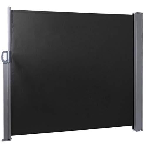 Omabeta Diseño telescópico extensible de la cortina lateral del toldo de la pared del jardín galvanizado del hierro para el hogar para el jardín (negro)