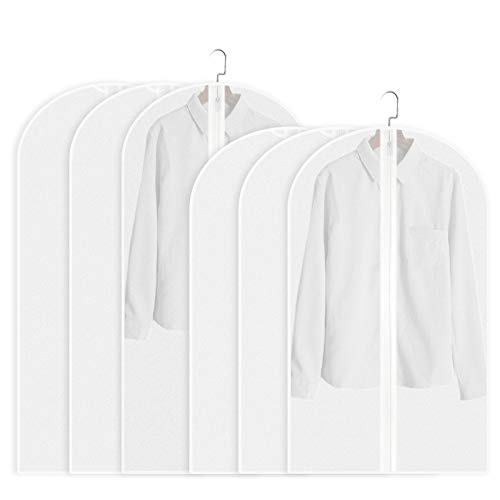 iLoft Garment Storage Bags Plastic Clothing Dust Covers Hanging with Study Full Zipper for Closet (Set of 6, 3x40 and 3x48)