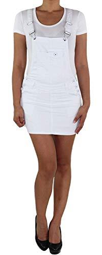 Sotala Damen Jeans Latzrock Mini Rock Latzjeans Jeansrock Minirock Träger Stretch Jeanskleid Minikleid Jeansmini Denim Latzkleid Sommerkleid (A) Weiß 36 (S)