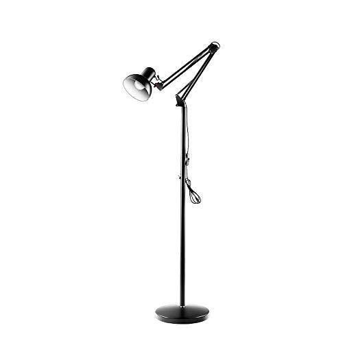 ZRABCD Moderne LED-Stehlampe, verstellbare schwarze Stehlampe mit Kabelschalter, Metallsockel und Schirm, Leselampe mit geringem Verbrauch für Wohnzimmer, Schlafzimmer, Büro, Nachttisch, E27-Buchse