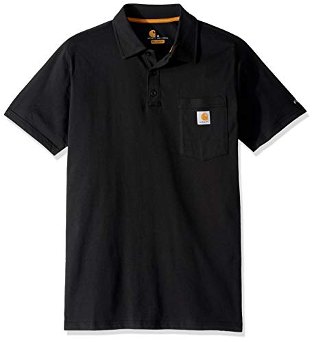 Carhartt Mens Force Cotton Delmont Pocket Polo Shirt, Schwarz, XXL