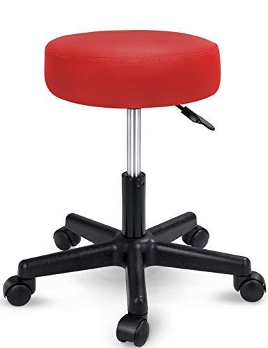 TRESKO Rollhocker höhenverstellbar Rot | Drehhocker 10 cm Dicke Polsterung | Arbeitshocker 360° drehbar | Hocker