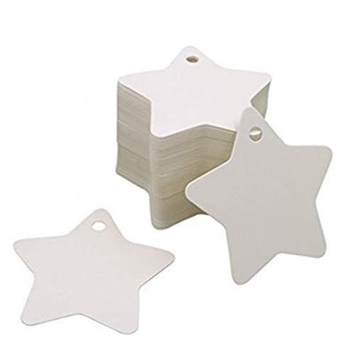 Weryffe Kraftpapier Kleine Pentagramm Label Zeichnung Lesezeichen Handseife Fallumbau Weihnachten Anhänger Dekoration Zubehör 100 Stücke (Weiß)