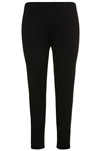 Ulla Popken Damen große Größen bis 76, Leggings aus Reiner Baumwolle, enganliegende Jersey-Hose, Skinny, Rundum-Gummibund schwarz 74+ 485548 10-74+