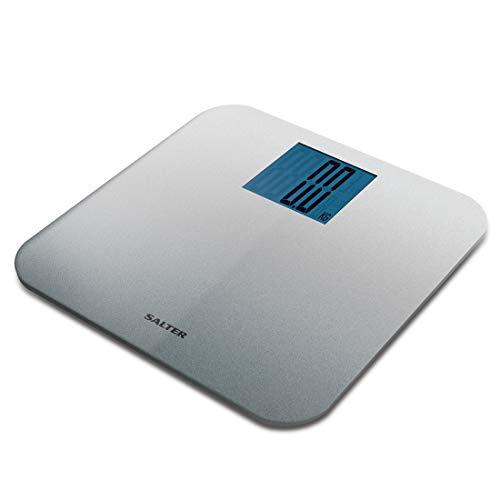 SALTER Max digitale Personenwaage max Traglast von 250kg, Gut lesbares Display, Plattform mit großzügigem Fußraum, Step-On Technologie, Teppichfüße genau auch auf unebenen Flächen