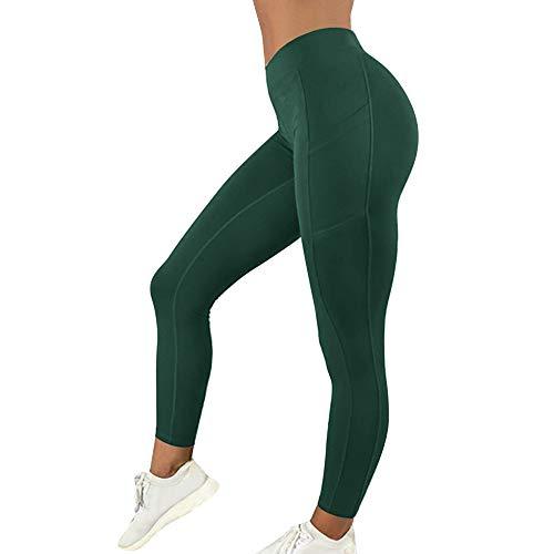 MoneRffi Pantalón Deportivo de Mujer Cintura Alta Leggings Mallas para Running Training Fitness Estiramiento Yoga Fitness Suaves Elásticos Cintura Alta para Reducir Vientre(Verde,S)