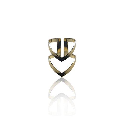 SoulSisters Lieblingsschmuck Ring Doppel V Trendschmuck 18k vergoldet/größenverstellbar