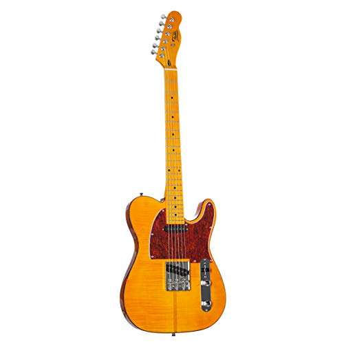 Fame SE Series TL Deluxe Amber (E-Gitarre mit Mahagoni-Korpus, Riegelahorn-Decke, Keramik Single Coils und T-Style Brücke)