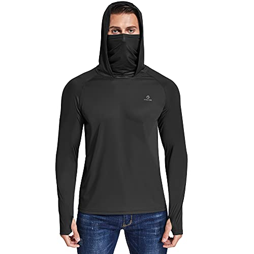 Ogeenier Anti UV Masque T-Shirt Manche Longue Homme Sport Running Musculation Chemise Protection Solaire Sweat A Capuche
