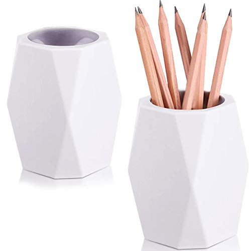 2 Pack Silicone Pencil Holder White Geometric Pen Cup for Desk Makeup Brush Holder,Desktop Organizer Pen Holder Ideal Gift for Office Home