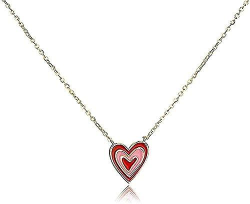 Yiffshunl Collar Colgante Collar Color Plata Pequeño corazón Rojo Collar Femenino Párrafo Corto Joyas para el Cuello Colgante Cadena de clavícula para Hacer un Regalo para una Mujer
