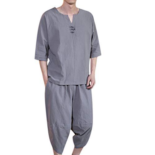 T-Shirt Top Shorts Anzug Männer Sommermode Lässig Bequem Hanf Kurzarm (Top + Hose) (3XL,2grau)