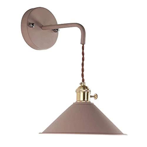 Lámpara de pared de hierro retro industrial, lámpara de pared de color caqui inalámbrico con control remoto LED, funciona con pilas, para interiores, para galerías, pasillo, cocina, puerta, decoració