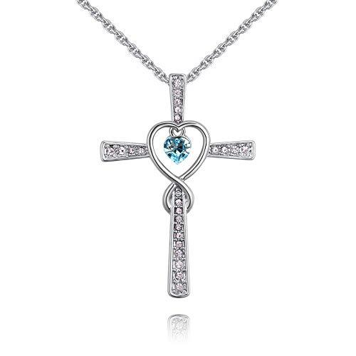 QUADIVA E! - Collana da donna con croce con cuore – Croce con cuore – AQM (colore: oro bianco/acquamarina) decorata con cristalli di Swarowski