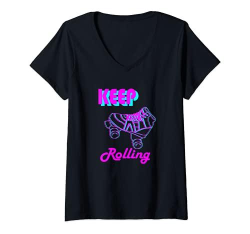 Damen 80er und 90er Jahre Roll Roller Rollschuh und Skating Design T-Shirt mit V-Ausschnitt