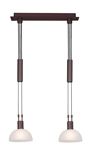 Brilliant Amira Pendelleuchte, 2-flammig, höhenverstellbar, 2x E14 maximal 40W, Metall/Glas, braun/weiß-alabaster 77371/20