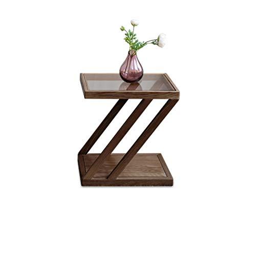 Mesa de té de madera CDingQ, tablero de cristal transparente e impermeable de doble capa, mesa auxiliar para dormitorio, sala de té, escritorio, libros, almacenamiento