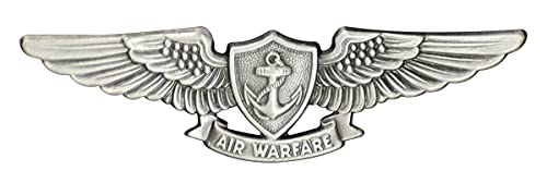 Badges And Collar Devices Navy Aviation Air Warfare Specialist Badge Oxidized Finish - Regulation
