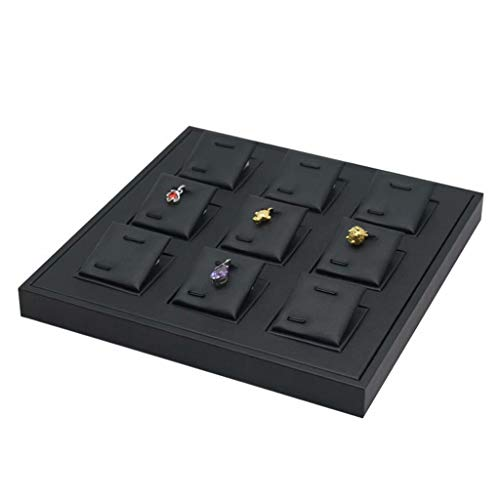 Placa de exhibición colgante Bandeja de cuero para joyería con tarjetas de joyería extraíbles Soporte de almacenamiento para colgantes Exhibición de vitrina, Negro - Placa colgante, 22cm × 22cm22cm
