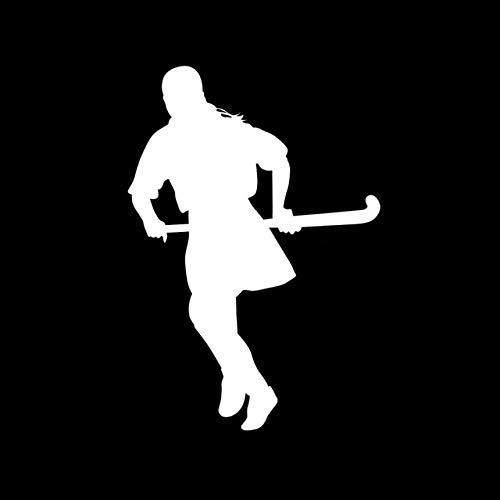RJGOPL Nettes Feldhockey-Mädchen-Autoaufkleber-Vinyl 12,8 cm * S9-0112 cmSilber