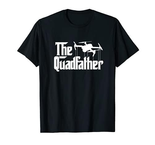 Mens The Quadfather Funny Drone FPV Quadcopter Drone Pilot Dad T-Shirt