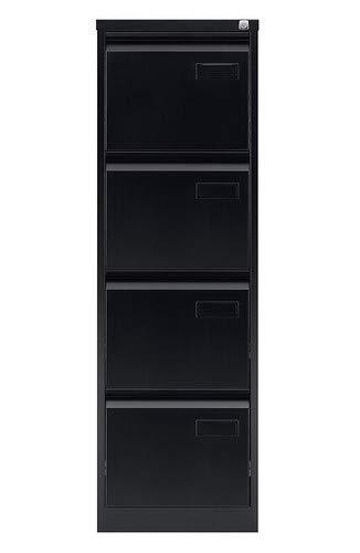 Bisley LIGHT Light Hängeregistraturschrank, einbahnig, DIN A4, 4 HR-Schubladen, Stahl, 633 Schwarz, 62.2 x 41.3 x 132.1 cm