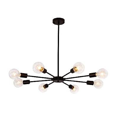 8 Lights Sputnik Chandelier Modern Black Ceiling Light Fixtures Hanging Pendant Starburst Lighting Industrial for Kitchen Dining Living Room Bedroom Decor