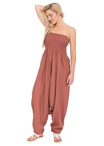 likemary Extraweite Damen Haremshose - Einteiler aus Baumwolle – Jumpsuit Overall - Pluderhose mit Bandeau Oberteil - Größen 36 bis 44 - Vielseitig anpassbar – Rosa Altrosa