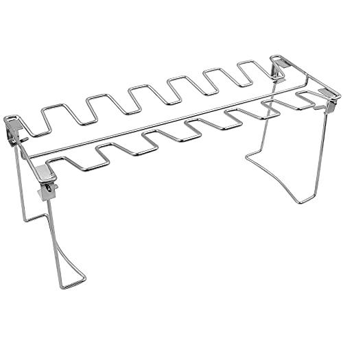 Soporte para muslo y ala de pollo plegable de acero inoxidable de 14 ranuras adecuado para accesorios de barbacoa y horno al aire libre 1 pieza