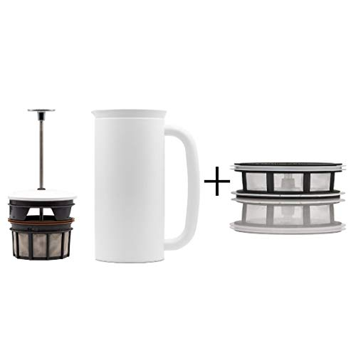 ESPRO P7 Double Walled Stainless Steel Vacuum Insulated Coffee French Press + Tea Micro-Filter, 32 Ounce, Matte White