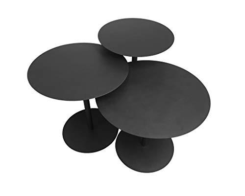 "Leisure Space 3-pcs Round Metal Coffee Table Set, Black Powder Coating Finish(16""/18""/20"")"