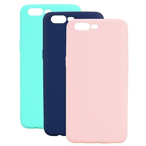 3 Farben OnePlus 5 Hülle, Yunbaozi Protective Case Gummi Schale Silikon Schutzhülle Gelee Süßigkeiten Glatt Flexibel Schlank Hülle für OnePlus 5, Grünes Blaues Rosa