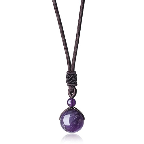 coai Geschenkideen Glückskette aus Amethyst mit Verstellbarer Nylonschnur Halskette Perle Anhänger für Damen und Herren