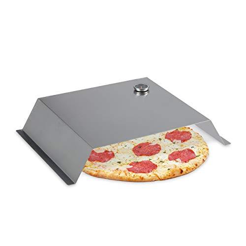 Relaxdays BBQ Pizzaaufsatz, mit Thermometer, Pizzahaube Edelstahl, HBT: 10 x 55,5 x 40 cm, Pizza Grillaufsatz, Silber