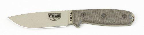 ESEE 4P-DT Desert Tan Fixed Blade Knife w/ OD Green Molded Polymer Sheath