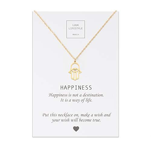 LUUK LIFESTYLE Edelstahl Halskette mit Buddha Anhänger und Happiness Spruchkarte, Glücksbringer, Damen Schmuck, gold